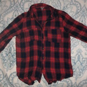 Red and blue plaid shirt with roll up sleeves